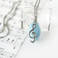 Light Blue Aquamarine Gemstone Necklace with G Clef Note Charm