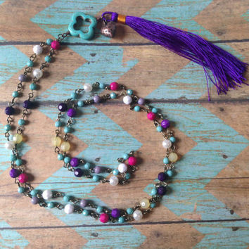 Beaded Necklace with Purple Tassel