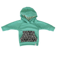 Mint baby hoodie, Green triangle hoodie, baby boy hoodie, baby jogger outfit, baby boy sweatshirt, modern baby clothing