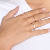 Crystal Gaze Ring Set - Rose Gold