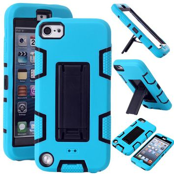 Phone Cases for iPod Touch 5 High Impact Resistant Hybrid Three Layer Silicone+Plastic Armor Defender Full Body Protective Cover