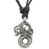 Amulet Infinity Magic Powers and Protection Dragon Lucky Charm Pewter Pendant Necklace