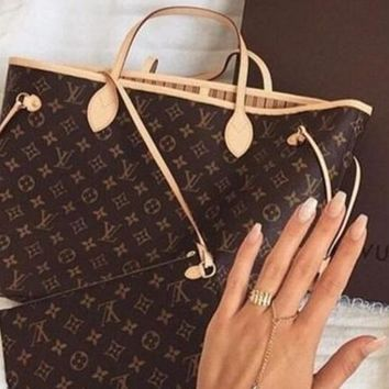 Louis Vuitton LV  Women Shopping Leather Tote Handbag Shoulder Bag and Same style Wallet two piece a set