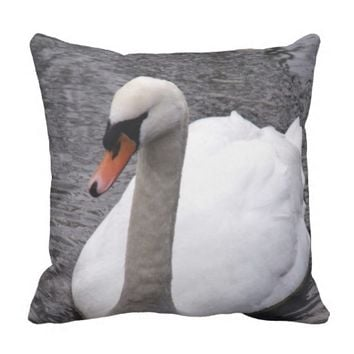 Swan In Winter Throw Pillow