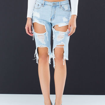 Shredder Cut-Out Denim Bermuda Shorts
