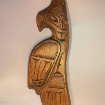 Haida, First Nations-Thunderbird Wood Carving, Solid Wood, Wall Art-Signed