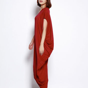 Asymmetric Sweatshirt Casual And Relaxed Pullover Short Sleeved T-shirt Dress Top For Women in Wine Red - NC691