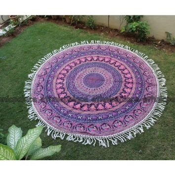 Elephant Mandala Round Tapestry in Pink and Purple