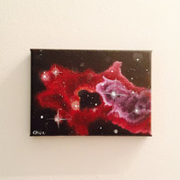 Outer Space Acrylic Painting, Nebula and Clouds, Office Decor, 5x7