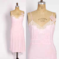 Vintage 40s SLIP / 1940s PINK Rayon Dress Slip 38 M - L New with Tags Attached