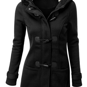 Double-Pocket Flocking Hooded Long Sleeve Coat
