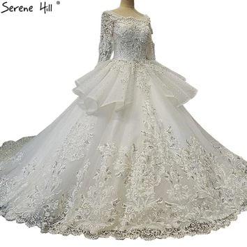 High-end Luxury Sexy Lace Train Wedding Dresses 2018 Diamond Sequined Long Sleeve Sexy Bridal Gowns Vestido De Nnoiva
