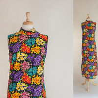 60s Dress / 60s Polyester Maxi Dress / 60s Floral Maxi Dress / 60s Column Dress / Mod Maxi Dress