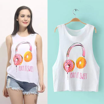 Stylish Sexy Hot Beach Comfortable Bralette Summer Tops Women's Fashion Creative Headphones Alphabet Print Vest [6047661249]