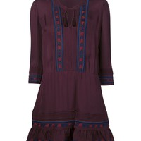 Veronica Beard Burgundy Katia Boho Dress - Embroidered Burgundy Boho Dress