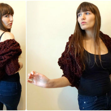 XO Sweater Shawl - Cherry - Oversized Handmade Crochet Hooded Shrug