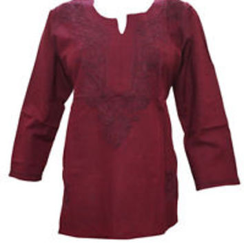 WOMEN'S COTTON TUNIC MAROON HAND EMBROIDERED INDIAN SHORT BLOUSE KURTI S
