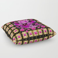 Flowers and gold in fauna decorative style Floor Pillow by Pepita Selles