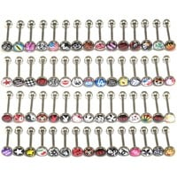 30 Surgical Steel Metal Tongue Rings Barbells Funny Nasty Wordings Picture Logo Signs 14G ~READ DESCRIPTION~