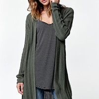 LA Hearts Drop Shoulder Ribbed Duster Cardigan - Womens Sweater - Beetle