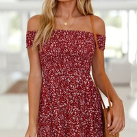 Better With You Red Floral Pattern Short Sleeve Off The Shoulder Skater Flare Casual Mini Dress