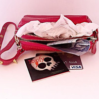Genuine Leather Clutch Pink Skulls Coin Purse Wallet with Key Ring & Zippered Compartments + Carry Strap
