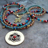 Boho Indie Beaded Necklace - Colorful Bohemian Necklace - Triple Strand Beaded Necklace - Gold Pendant Gypsy Necklace