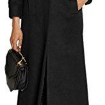 GESELLIE Women's Vintage Black Single Breasted Outwear Lapel Thick Full-Length Wool Pea Coat