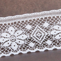 "1 yard 3 1/4"" white lace ribbon,lace trim,lace ribbon,embellishment,wedding,sewing,card making,hair bows,scrapbooking."