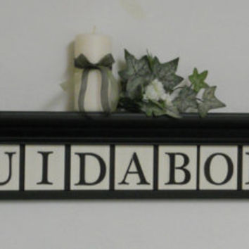 "Personalized Family Names and Signs 42"" Black Shelf - 11 Wooden Letter Tiles Painted with GUIDABONI with Elm Leaves Artwork"