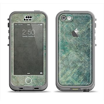 The Grungy Green Painted Fabric Apple iPhone 5c LifeProof Nuud Case Skin Set
