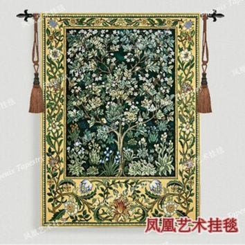 VONESC6 William Morris - Tree of life -green Extra large 197 X 139cm Art tapestry wall hanging Home decorative textile Jacquard products