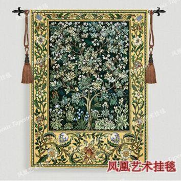 DCCKJG2 William Morris - Tree of life -green Extra large 197 X 139cm Art tapestry wall hanging Home decorative textile Jacquard products