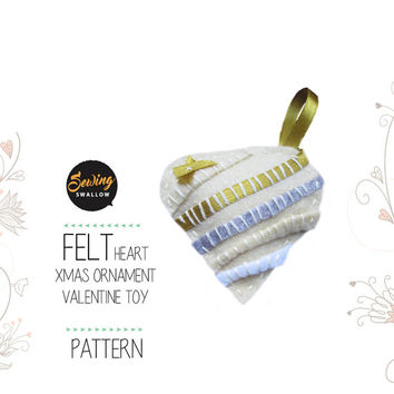 Gold PDF Pattern Felt Heart Christmas ornament, Decoration, Valentine gift sewing instructions
