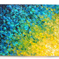 SALE - Original Acrylic Painting 11 x 14 Color FREE Shipping Abstract Bold Ocean River Water Theme Blue Teal Turquoise Modern Original Style