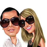 Custom Digital Painting Style Caricature - Personalised Gift - Caricature From Your Photo's - Digitally Delivered