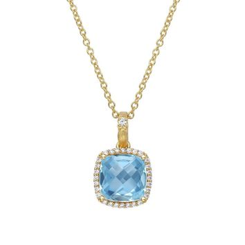 Lafonn Aria Sterling Silver Gold Plated Blue Topaz Necklace