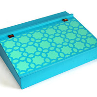 Turquoise Blue Re-Cycled Vintage Home Made Lap Desk