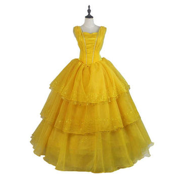 2017 Beauty and the Beast Princess Belle Dress Belle Cosplay Costumes