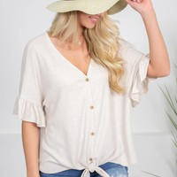 Earth Beige Button-Up Top
