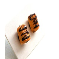 Chocolate Croissant Stud Earrings