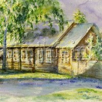 zbushka - A russian cottage painting by Alexandra Cook