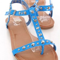 Blue Patent Faux Leather Studded Strappy Open Toe Sandals