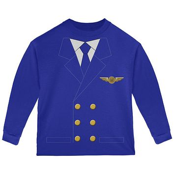 Halloween Airline Airplane Pilot Toddler Long Sleeve T Shirt