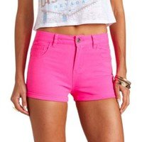 "Refuge ""Hi-Rise Shortie"" High-Waisted Shorts - Bright Pink"