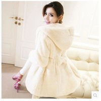 Winter mink fur coat female Hooded Slim Haining fox fur long coat