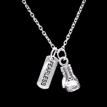Inspirational Fearless Boxing Glove Strength Gift Crossfit Fitness Necklace