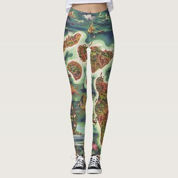 1950 Dole Map of Hawaii Joseph Feher Oil Paint Leggings