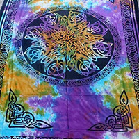 """Hippie/Indian Tapestry/Wall/Bedspread/Tablecloth Tie Dye Celtic Knot Mandala 72""""x 108"""" TP26TD"""