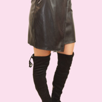 ambitious ways faux leather skirt-black